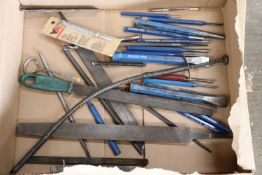 Box lot of files, chisels and punches