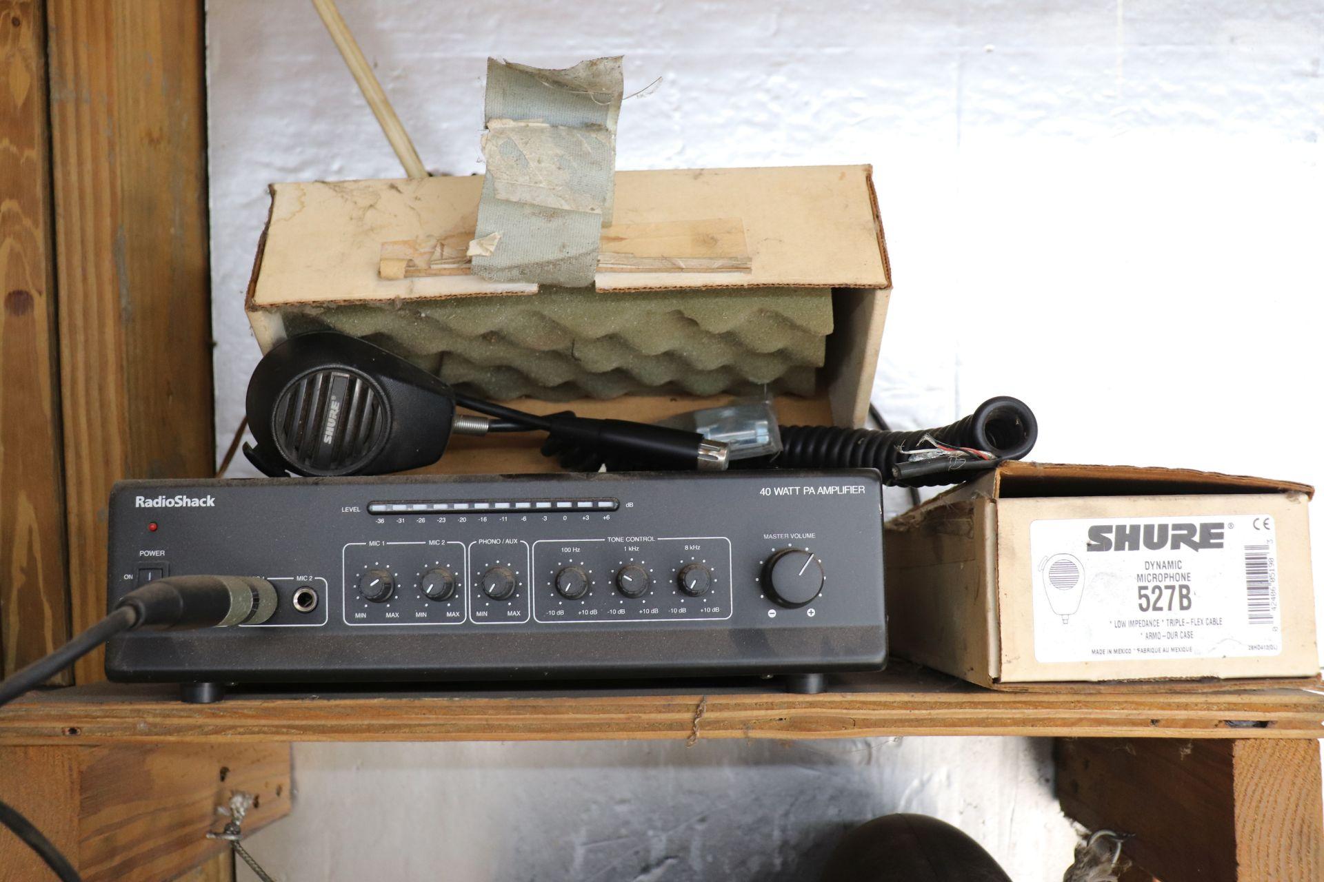 Radio Shack brand 40-watt PA amplifier and two Shure microphones