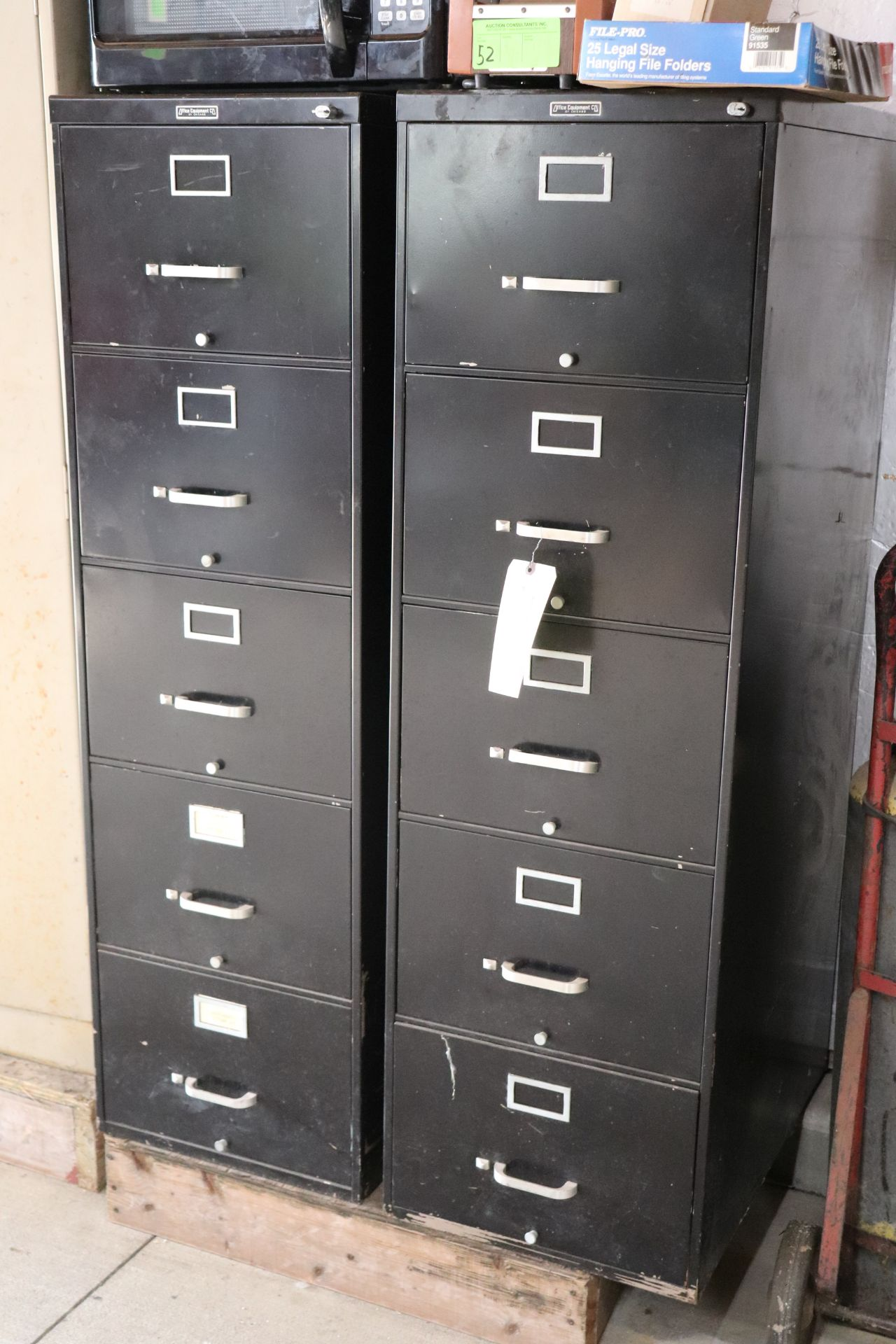 Two five-drawer filing cabinets by Office Equiupment Company