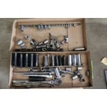 Set of Craftsman standard sockets, socket wrenches, socket extensions, and other miscellaneous socke