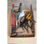 Box lot of bolt cutters, wire strippers, pliers, and vise grips