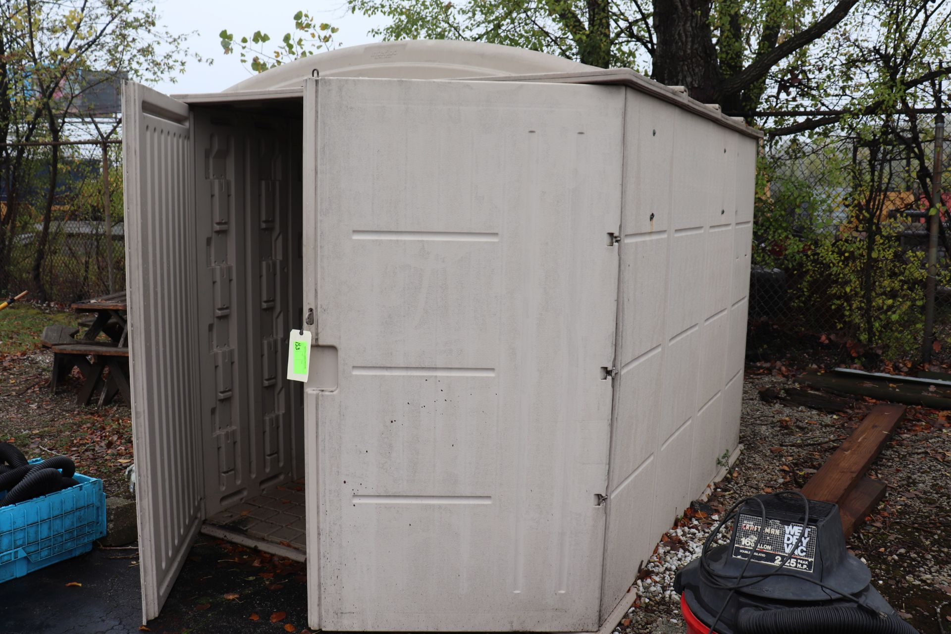 Interlock by PlayStar plastic shed, approximate size 5' x 6'
