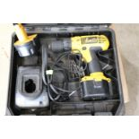 Dewalt model DC727 KA cordless drill with two batteries and charger
