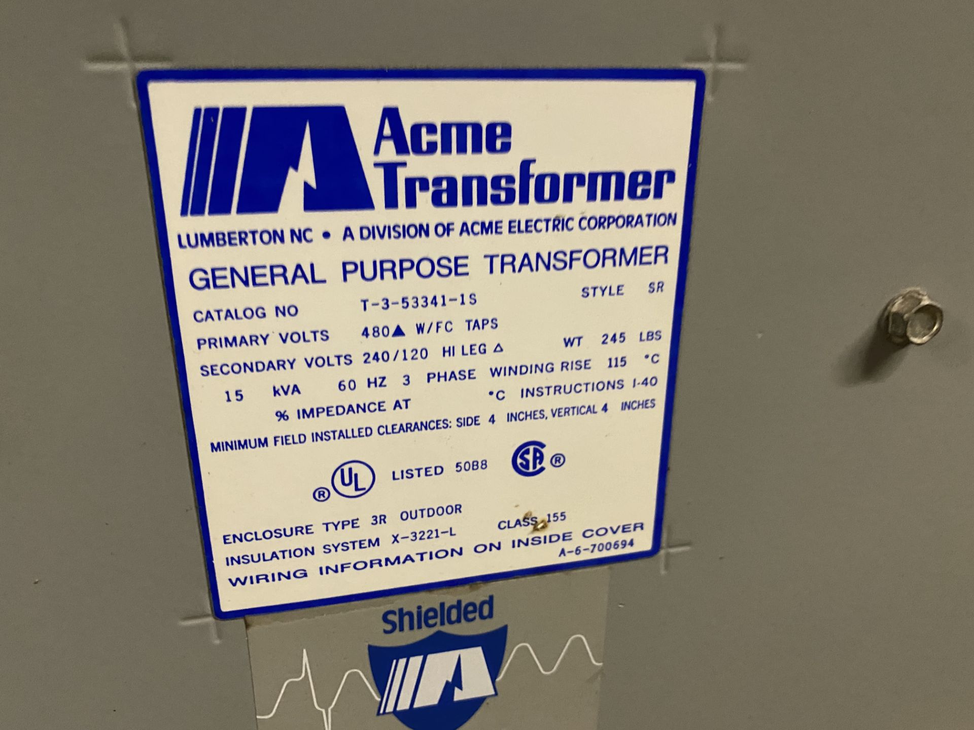 Lot 5 - ACME T-3-53341-1S, 15 KVA, 3Ø, 480 X 240/120 VOLT, TRANSFORMER- (NS) T1600