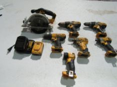 DeWalt Cordless Set with Battery & Charger, Circular Saw, (3) Drills, (2) Impact Drill & (1)