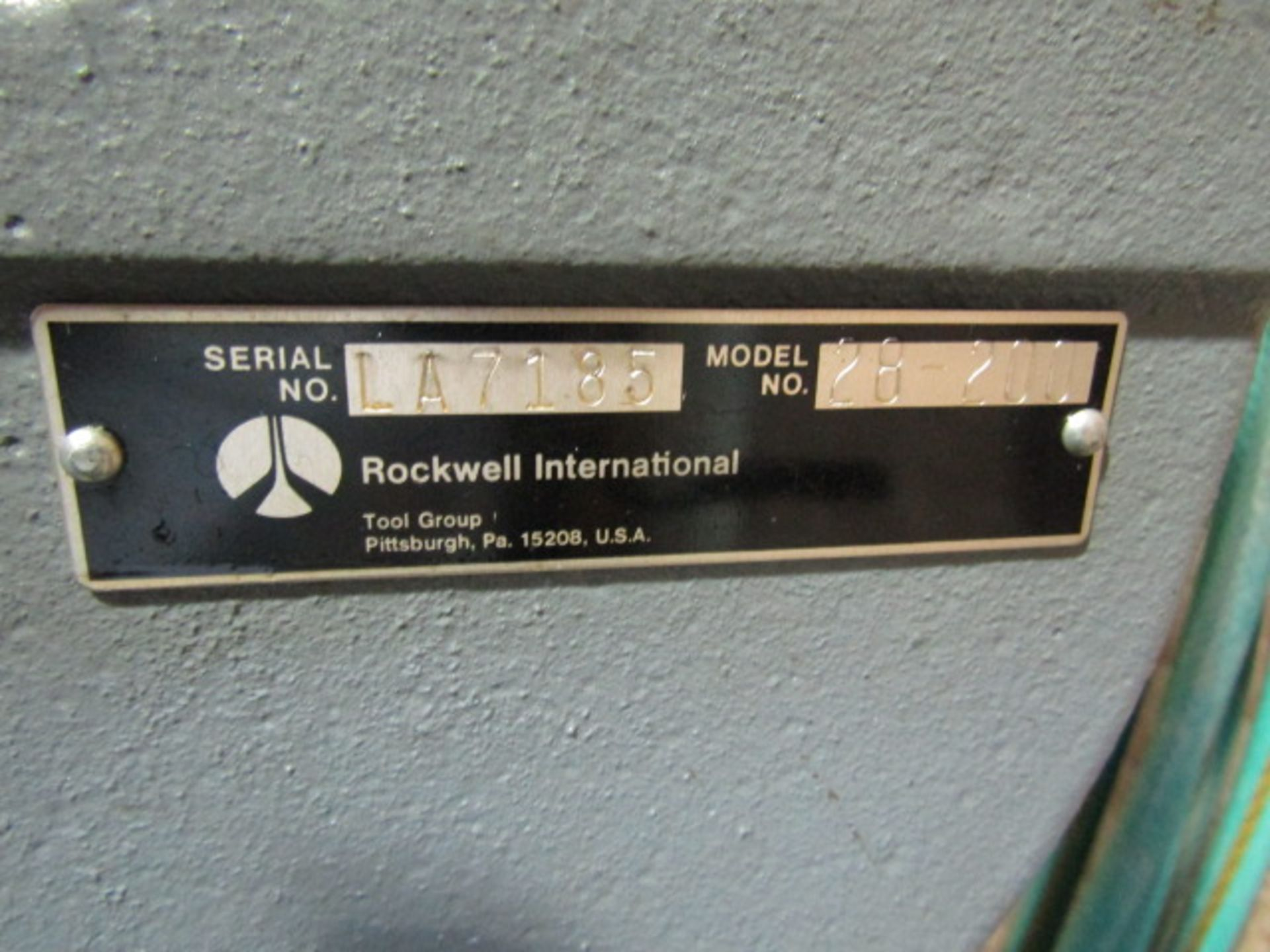 Lot 294 - Rockwell Band Saw, Model #28 200, Serial #LA7185