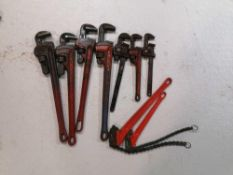 (7) Various Size Pipe Wrenches & (2) Chain Wrenches