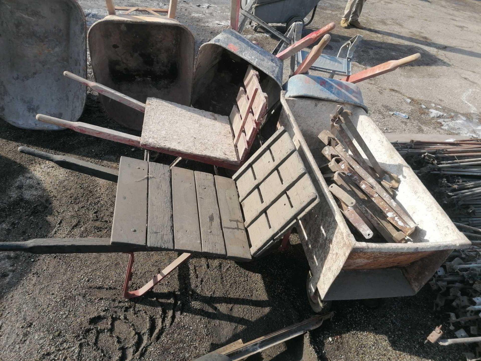 Lot 62 - Wheeled Mortar Box, Mason Wheel barrows & Scaffolding Outriggers