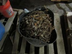 Bucket of (4,305) Wedge Bolts/ Pins Symons Steel Ply Forms.