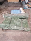 Army Camouflage Screen Tent & Frame, (3) Window Guards & (6) Moving Blankets