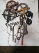 Assorted Cable Come Alongs, Scaffolding Well Wheels & Steel Casters