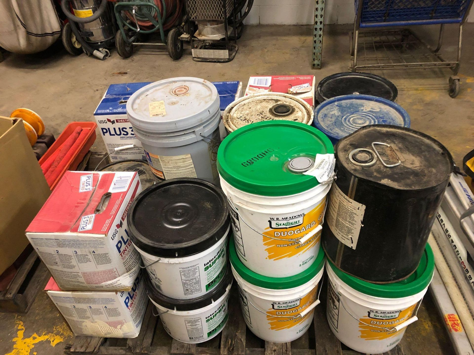 Lot 437 - Pallet of DuoGard Form Oil, Adhesive & Joint Compound