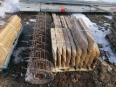 """Pallet of Wire Mesh & (200) 24"""" Wood Stakes"""