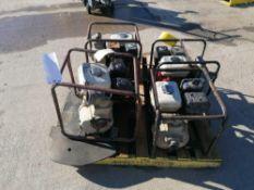 (4) Trash Pumps, (1) Honda GX160 5.5 , (1) Honda GX120 4.0 , (1)Honda GX120 4.0, (1) Koshin SEH-