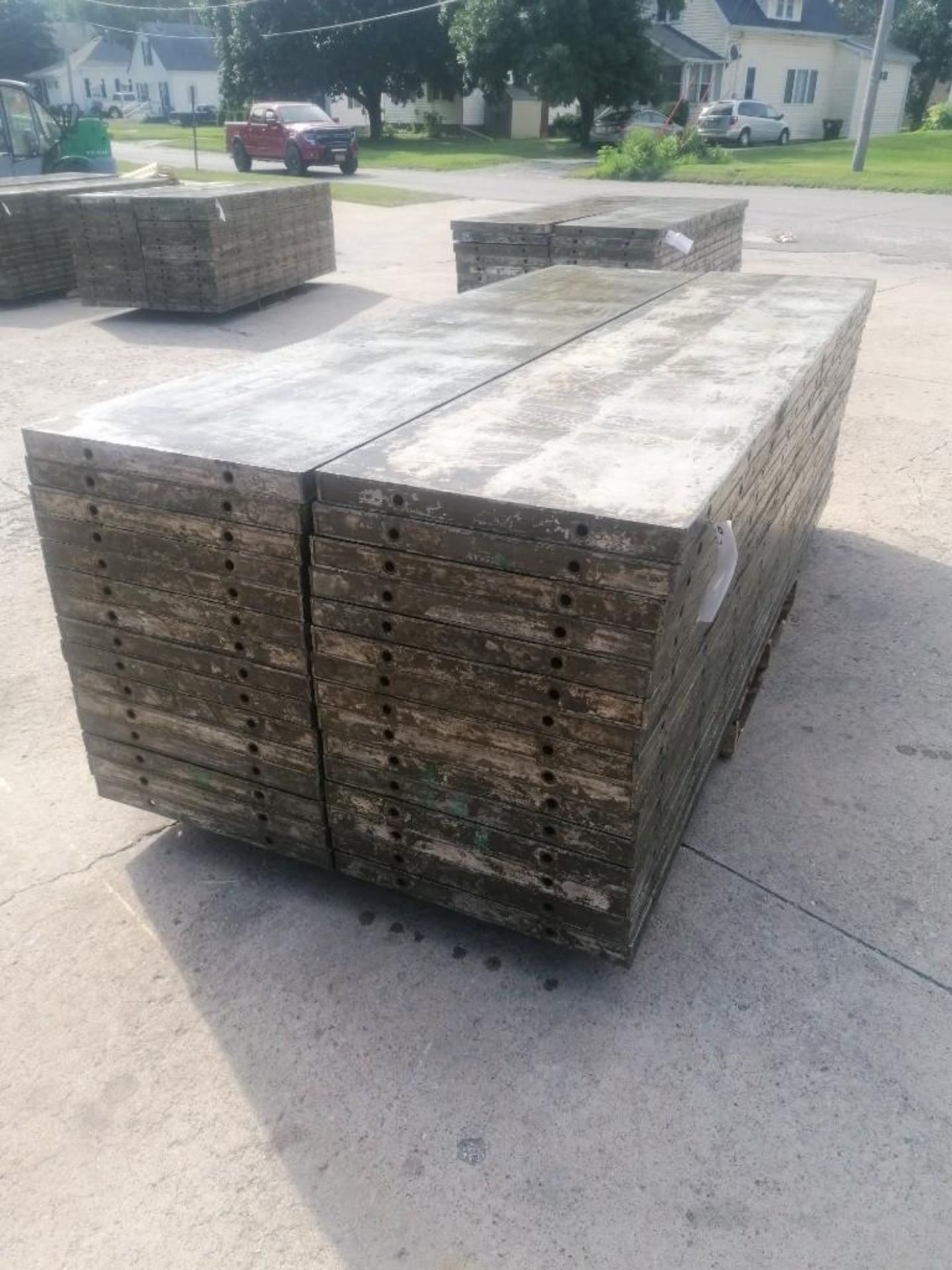 Lot 144 - (30) 2' x 9' Wall-Ties Aluminum Concrete Forms, Laydowns, Smooth 6-12 Hole Pattern. Located at 301 E