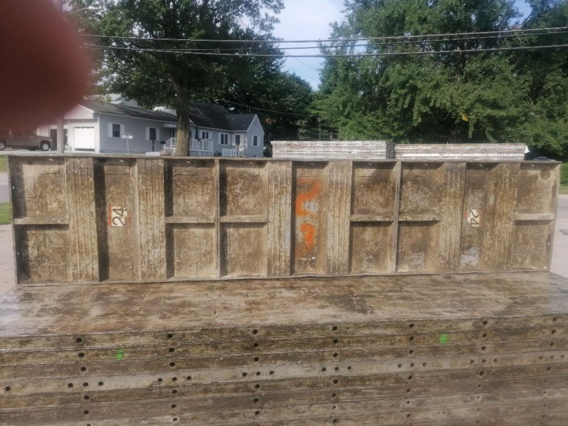 Lot 145 - (30) 2' x 9' Wall-Ties Aluminum Concrete Forms, Laydowns, Smooth 6-12 Hole Pattern. Located at 301 E