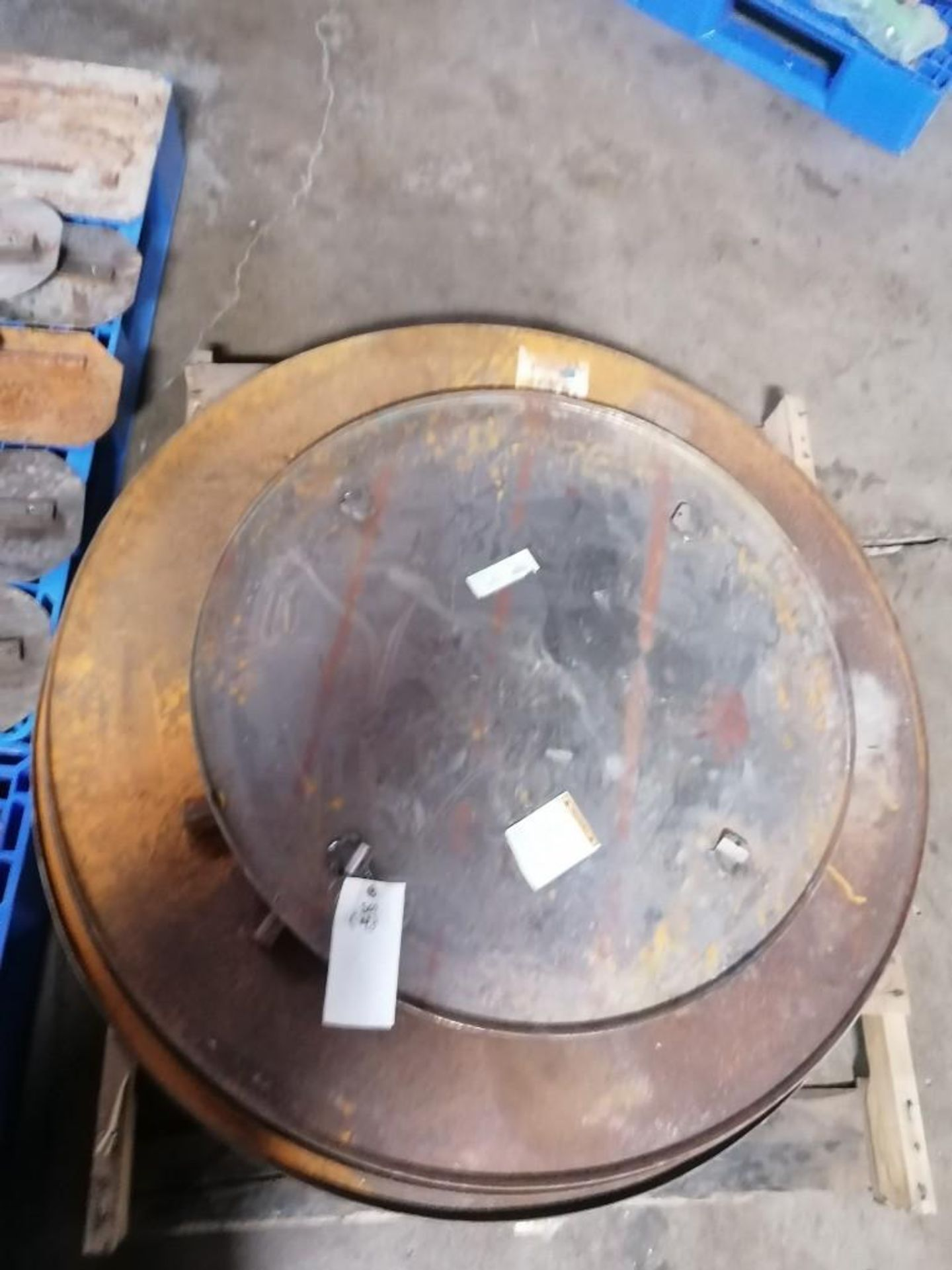 """Lot 108 - (3) 48"""" & (1) 36"""" Power Trowel Pans & (39) Power Trowel Blades. Located at 301 E Henry Street, Mt."""