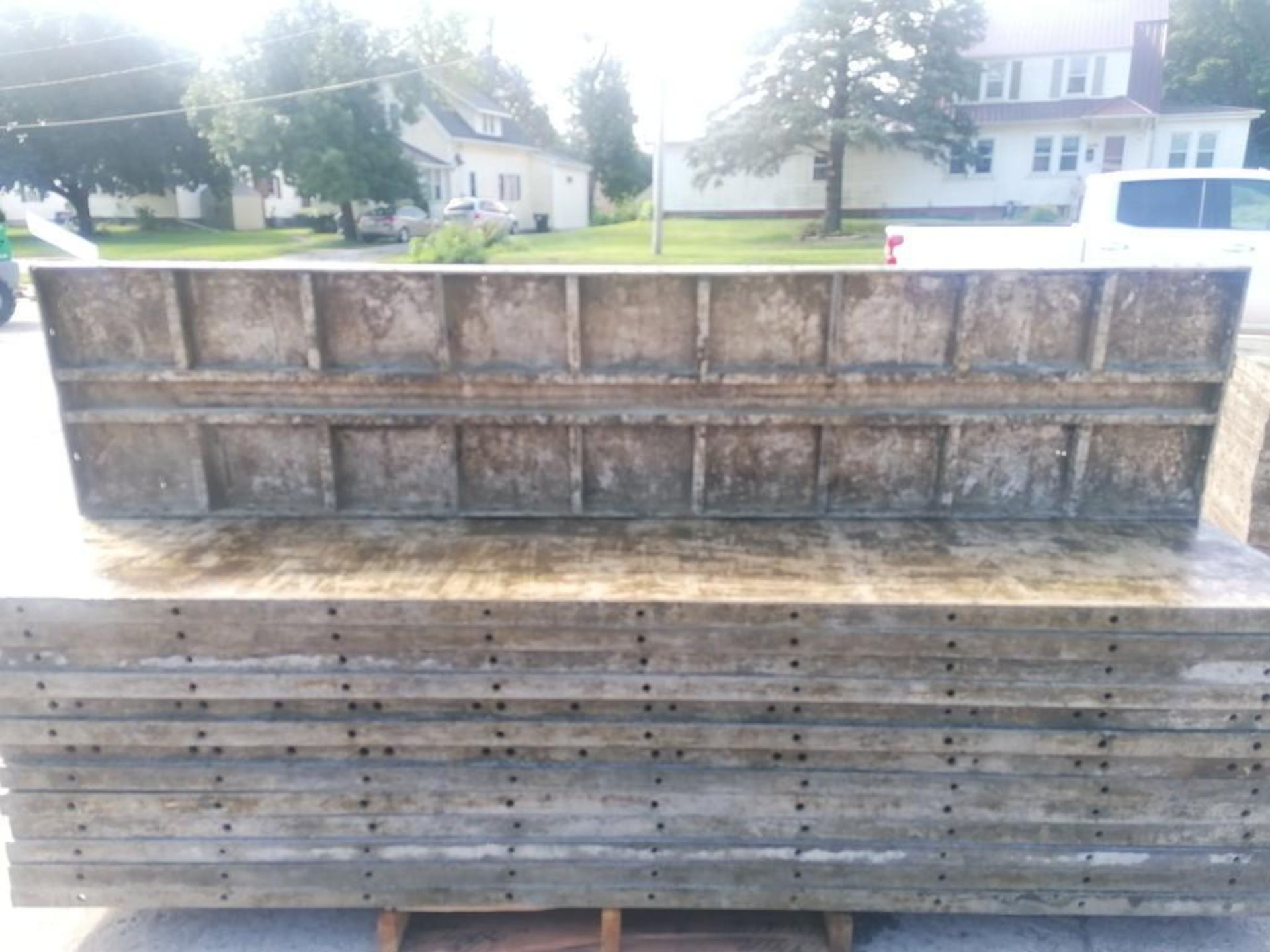 Lot 150 - (30) 2' x 9' Wall-Ties Aluminum Concrete Forms, Laydowns, Smooth 6-12 Hole Pattern. Located at 301 E