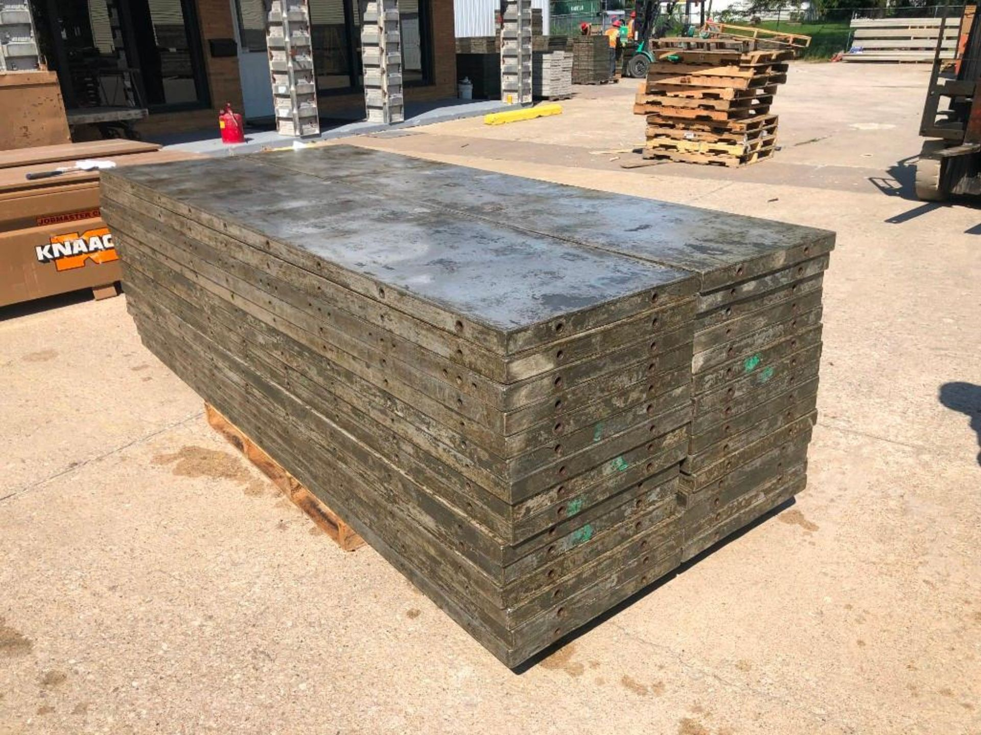 Lot 141 - (30) 2' x 9' Wall-Ties Aluminum Concrete Forms, Laydowns, Smooth 6-12 Hole Pattern. Located at 301 E