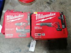 "(1) NEW Milwaukee M18 1/2"" Compact Drill Kit & (1) NEW Milwaukee M18 Cordless Recip Saw Kit. Located"