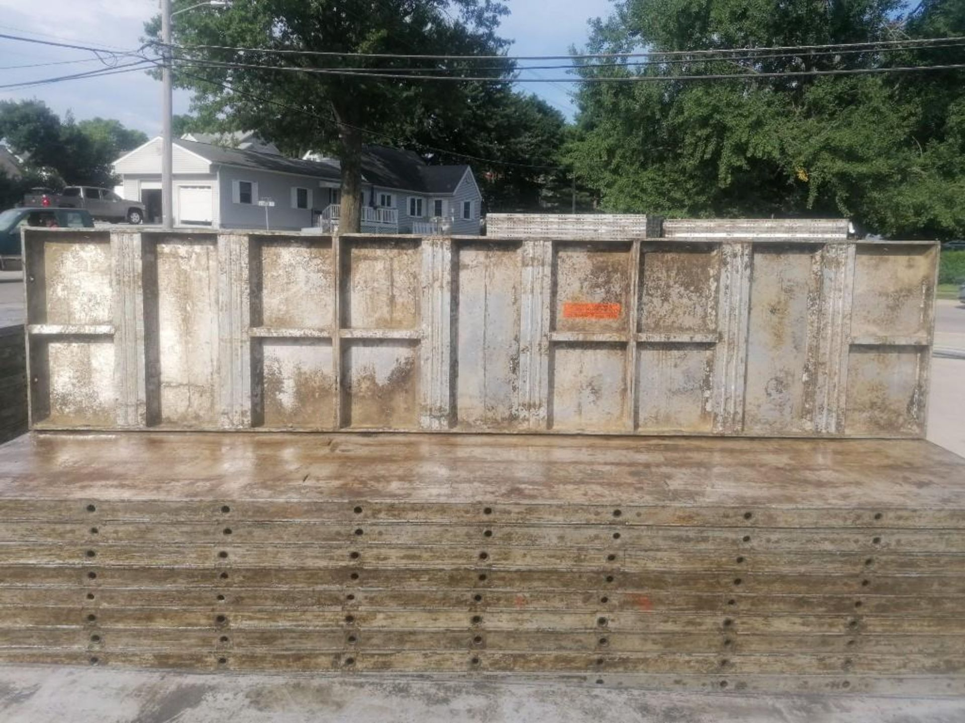 Lot 134 - (30) 2' x 9' Wall-Ties Aluminum Concrete Forms, Laydowns, Smooth 6-12 Hole Pattern. Located at 301 E