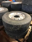 (2) Michelin 385/65R 22.5 Steer Tires with Rims. Located at 301 E Henry Street, Mt. Pleasant, IA