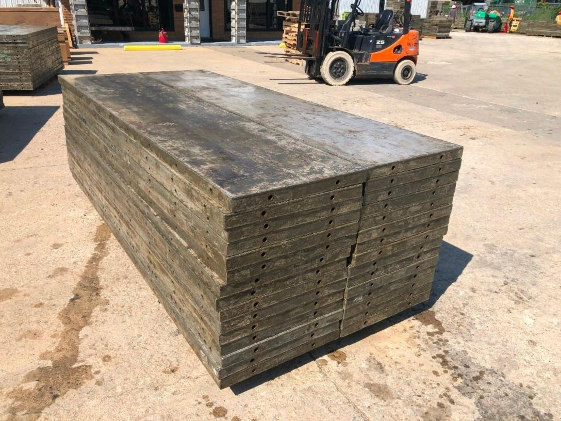 Lot 143 - (30) 2' x 9' Wall-Ties Aluminum Concrete Forms, Laydowns, Smooth 6-12 Hole Pattern. Located at 301 E