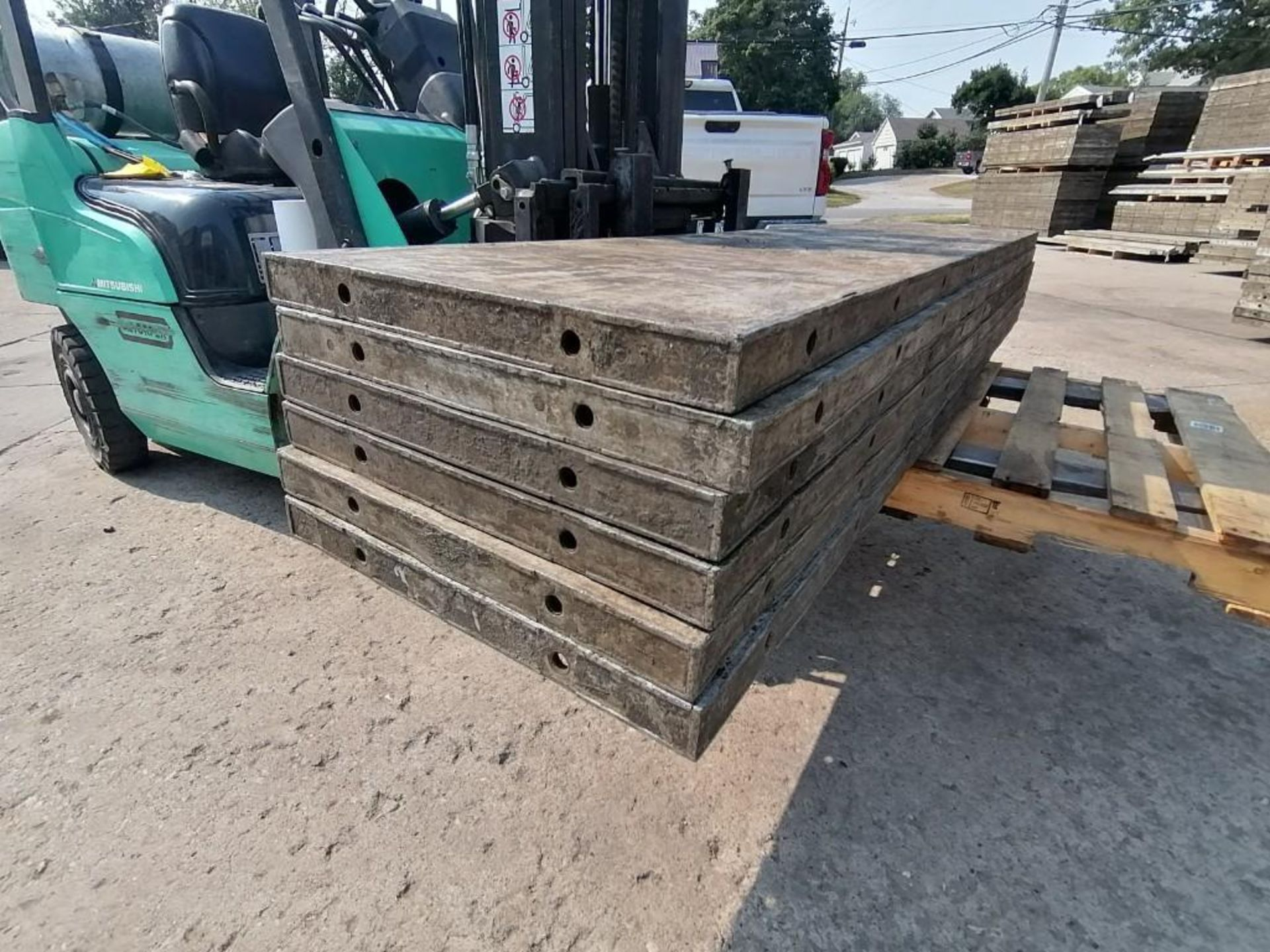 Lot 153 - (6) 2' x 9' Wall-Ties Aluminum Concrete Forms, Laydowns, Smooth 6-12 Hole Pattern. Located at 301