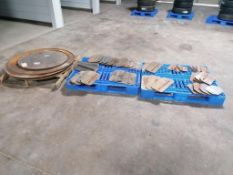 "(3) 48"" & (1) 36"" Power Trowel Pans & (39) Power Trowel Blades. Located in Mt. Pleasant, IA."