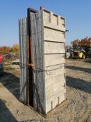 "(16) 36"" X 8' Precise Smooth Aluminum Concrete Forms 6-12 Hole Pattern with attached hardware,"