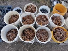 (12) Buckets of Pins & Wedges. Located in Ixonia, WI