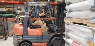Toyota Forklift, Model 42-6FGCU25, 15596 Hours, Serial #78898, 3 Stage Side Shifter, LP, Located in