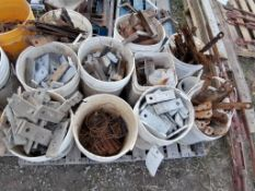 (9) Buckets of Whalers, Tie Down Wire & Flat Wall Ties. Located in Ixonia, WI