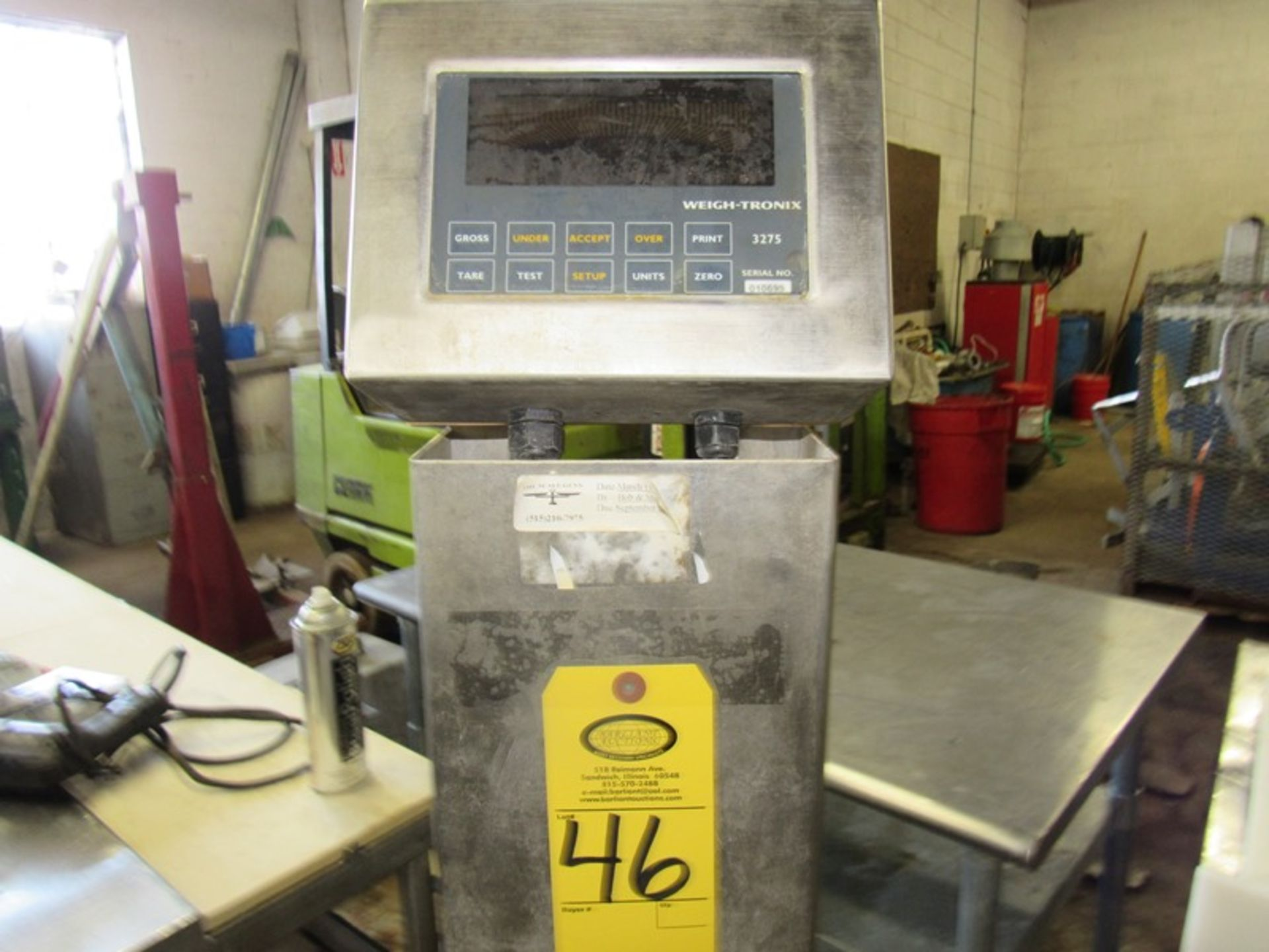 "Lot 46 - Weigh-Tronix Mdl. 3725 Digital Scale, 20"" X 20"" stainless steel platform on stand;*** All Funds Must"