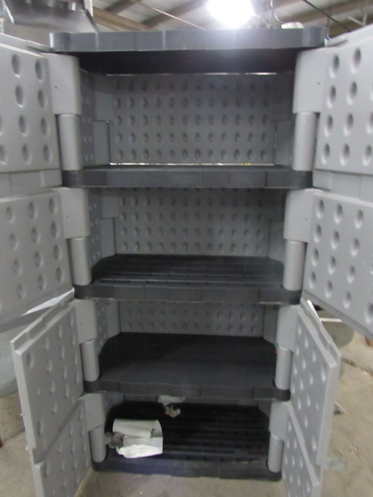 "Lot 60 - Lot;(1) Portable Rack, 28"" W X 48"" L X 55"" T, (1) Rubbermaid plastic Cabinet, 2-doors, 4-shelves, 3'"