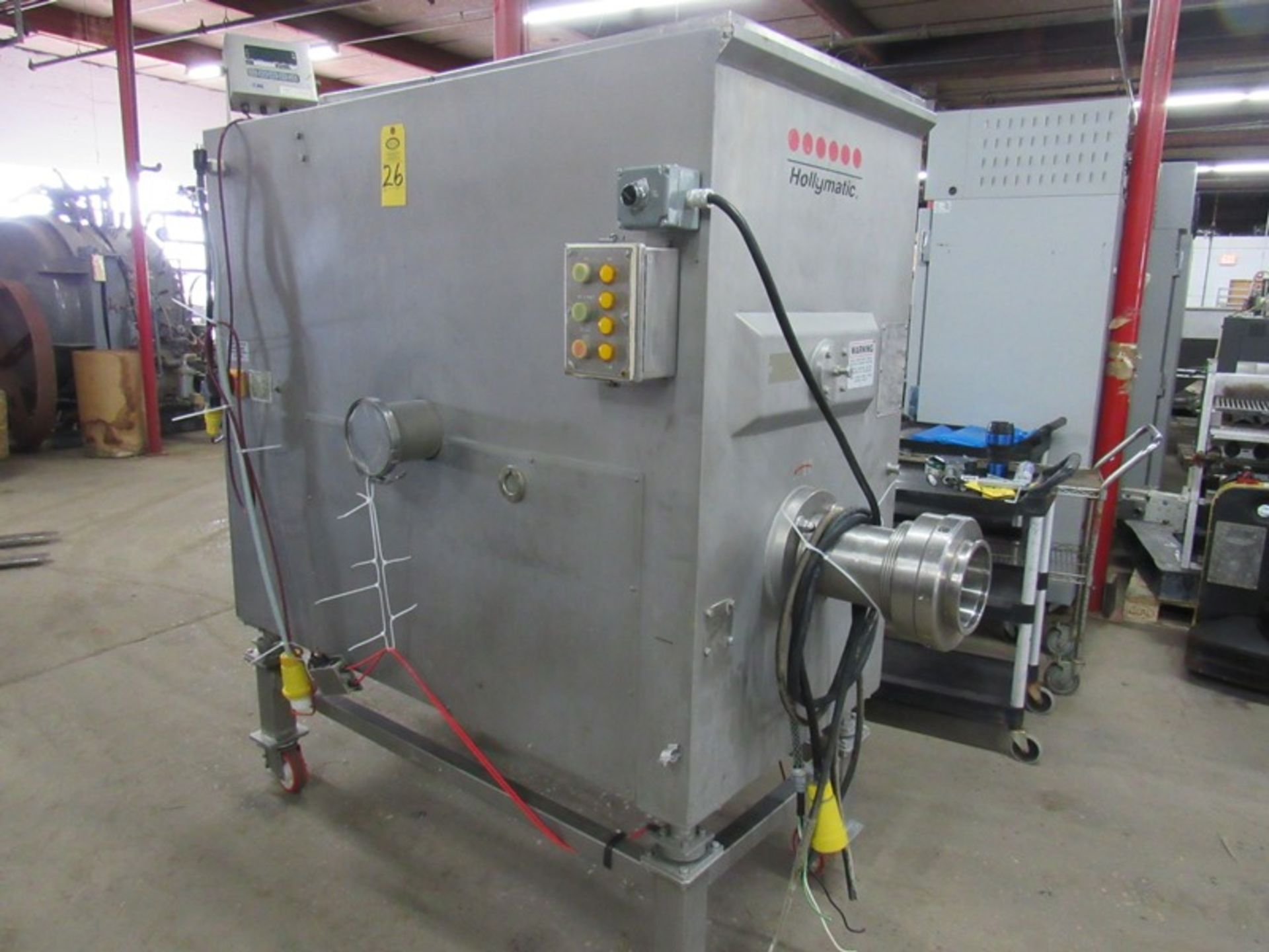 """Lot 26 - Hollymatic Mdl. 4300 Mixer/Grinder, load cells, on wheels, Ser. #4300120010, 6"""" head plates, GSE"""