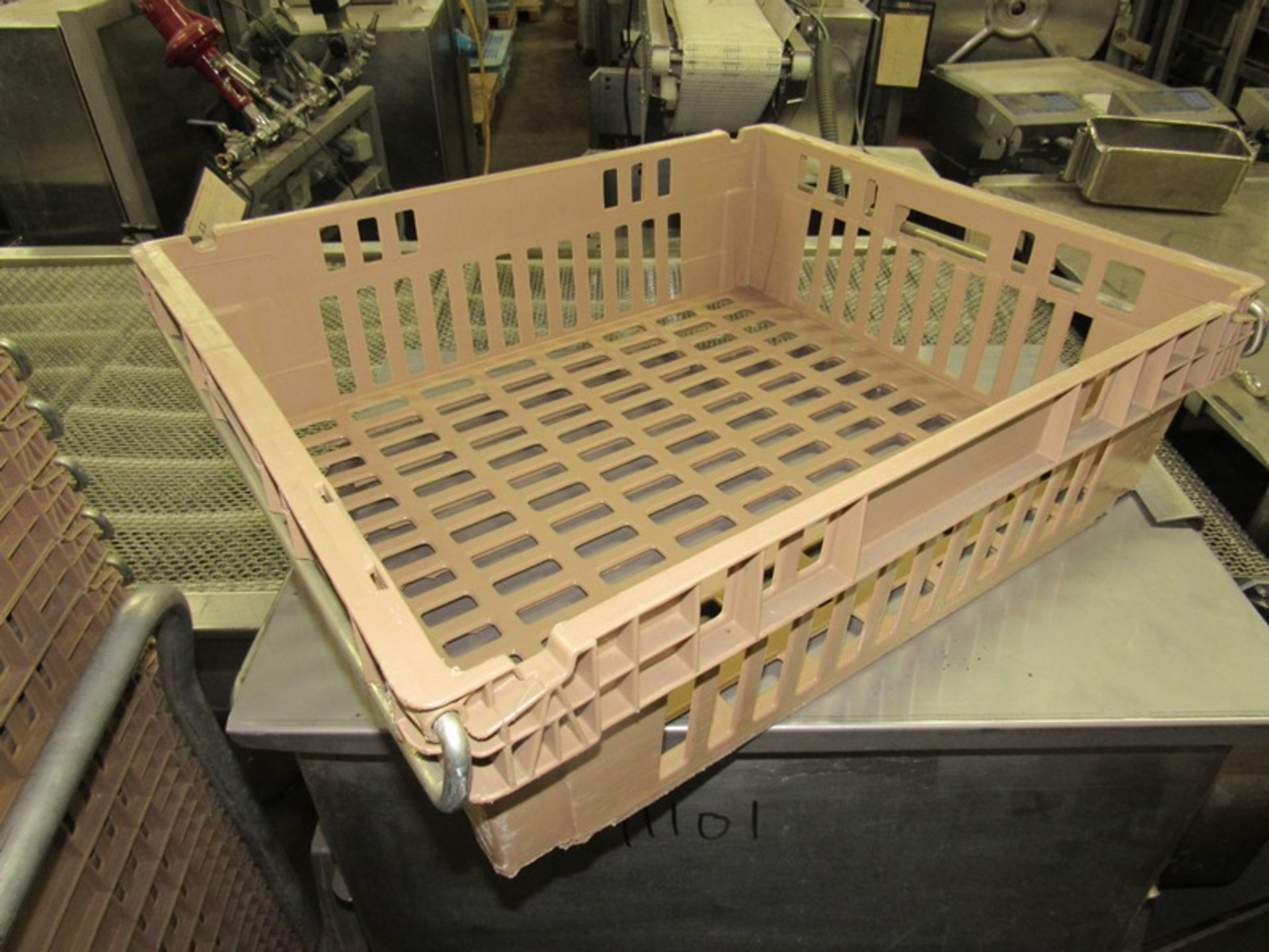 """Lot 18 - Koch Beige Meat Lugs, 18 1/2"""" W X 22"""" L X 6"""" D, w/aluminum cart;*** All Funds Must Be Received By"""