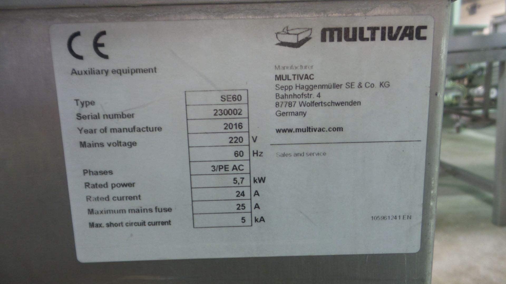 Lot 6 - Multivac Mdl. SE60 Dip Tank, touchscreen controls, foot pedal activation220 volt, 3 phase, Ser. #