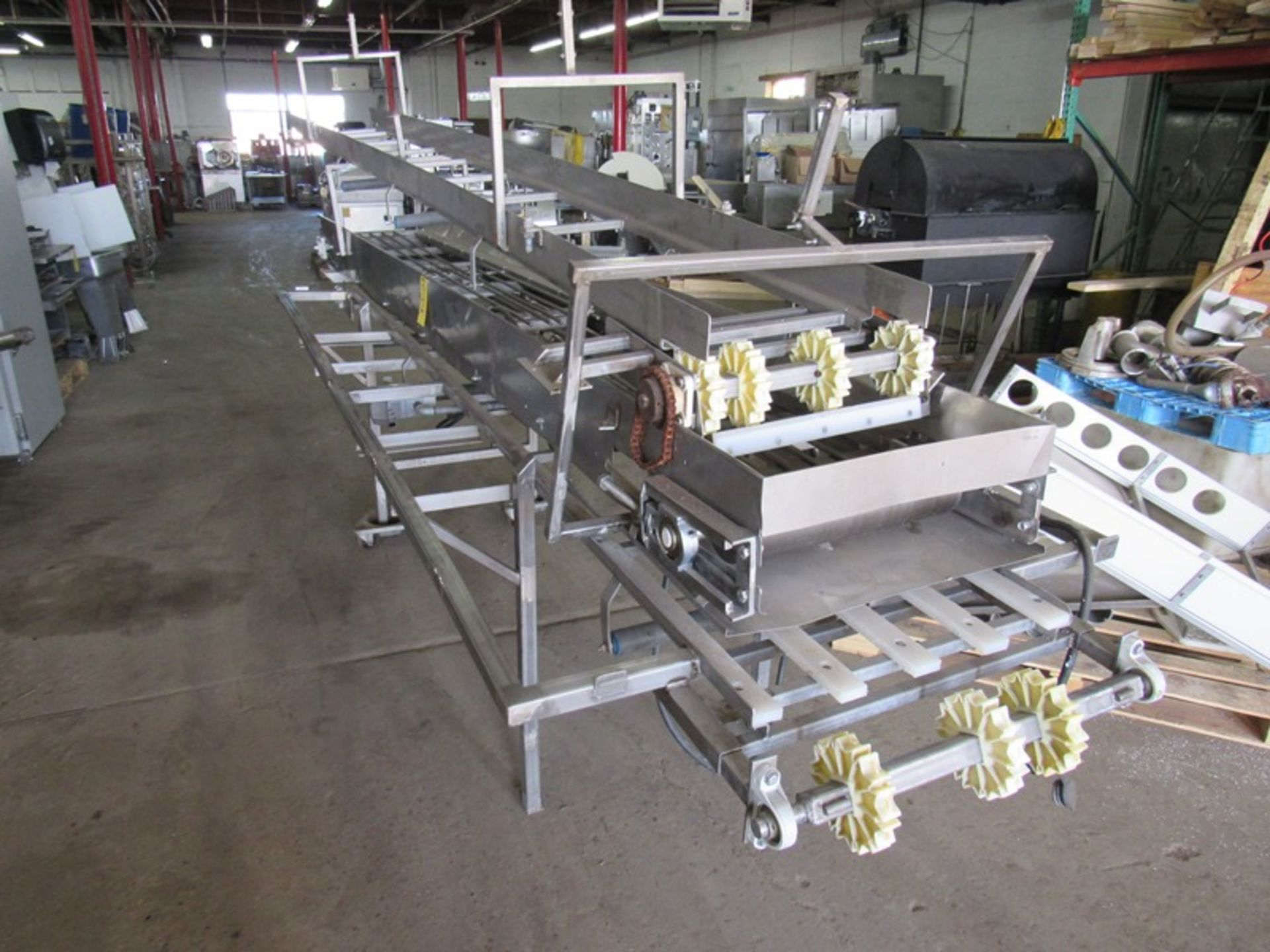 "Lot 2 - Stainless Steel Boning Table/Conveyor, 18"" W X 15' L w/ceiling mounted takeaway conveyor, missing"