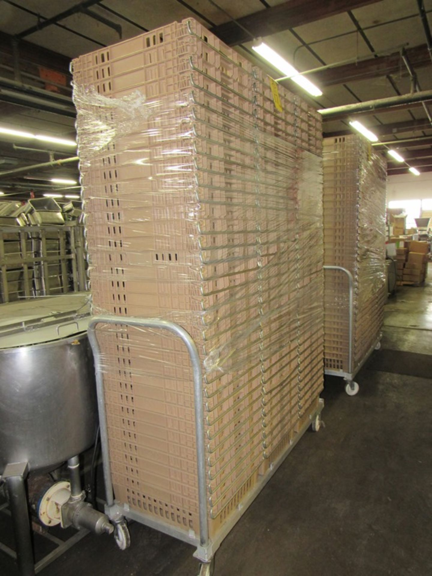 """Lot 17 - Koch Beige Meat Lugs, 18 1/2"""" W X 22"""" L X 6"""" D, w/aluminum cart;*** All Funds Must Be Received By"""