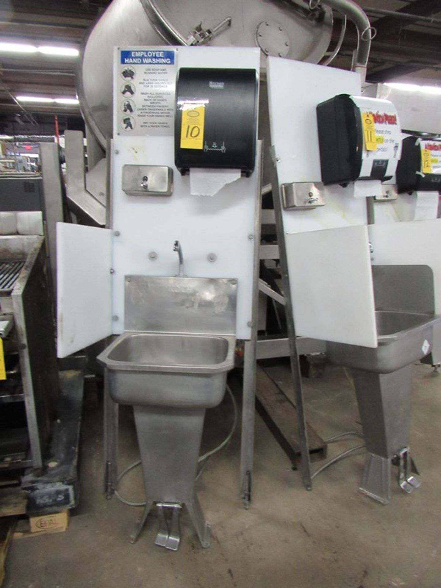 "Lot 10 - Koch Stainless Steel Handwash Station Sink, foot pedel activation, soap towel dispensers, 26"" W X"
