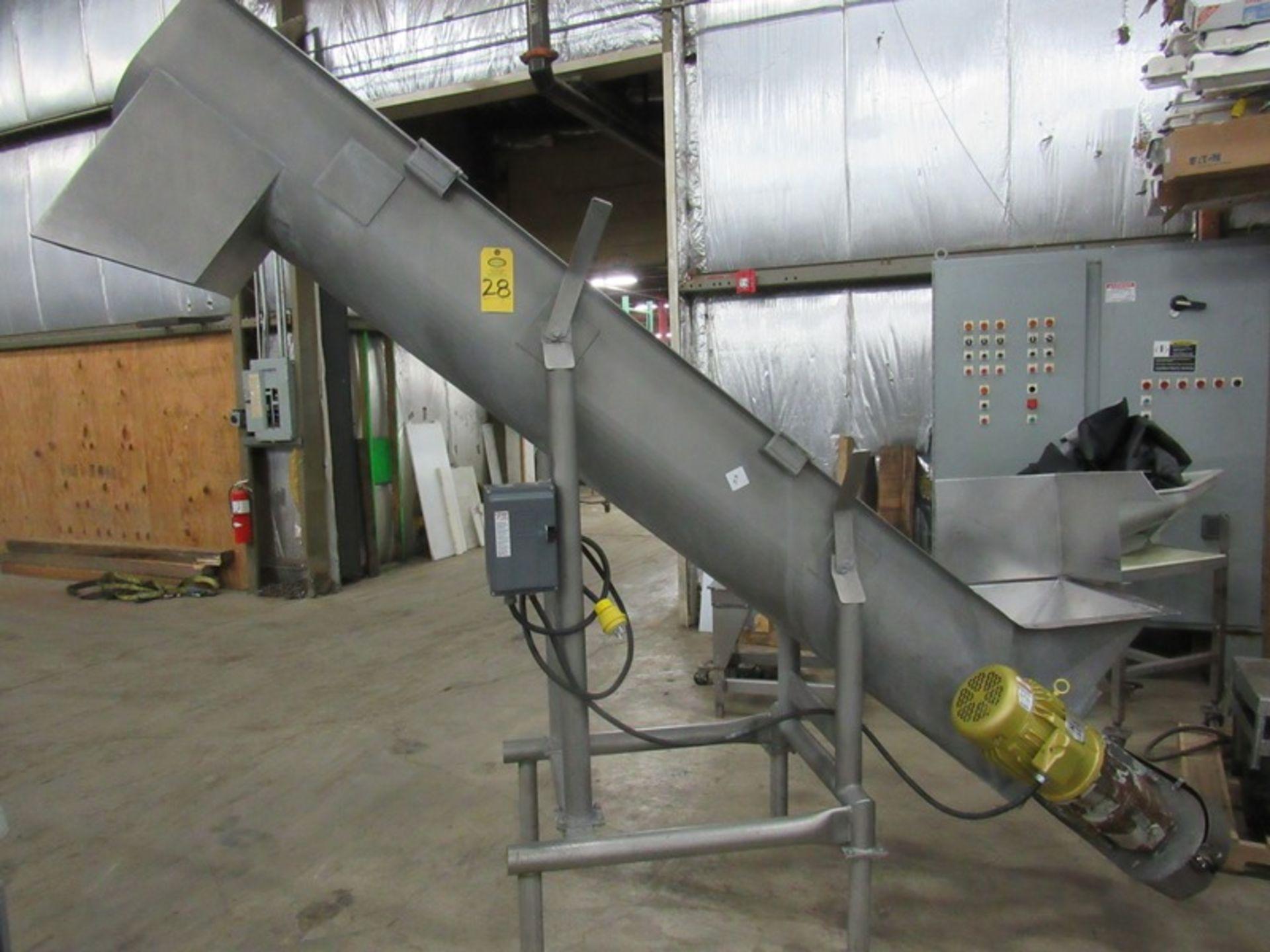"Lot 28 - Stainless Steel Screw Conveyor, 14"" Dia. X 9' L screw, 6' discharge, stainless steel screw cover,"