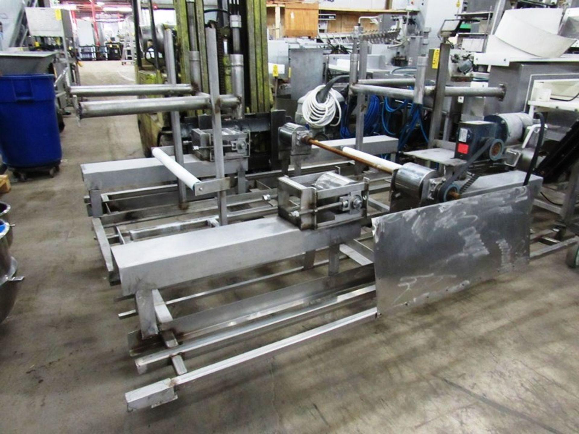 "Lot 40 - Stainless Steel Boning Conveyor, 78"" W X 25' L X 40"" T,; 24"" wide center belt, 24"" W poly work"