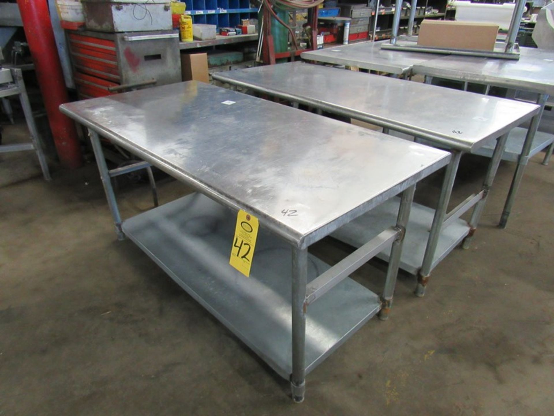 """Lot 42 - Stainless Steel Tables, 30"""" W X 5' L X 32"""" T with bottom shelf;*** All Funds Must Be Received By"""