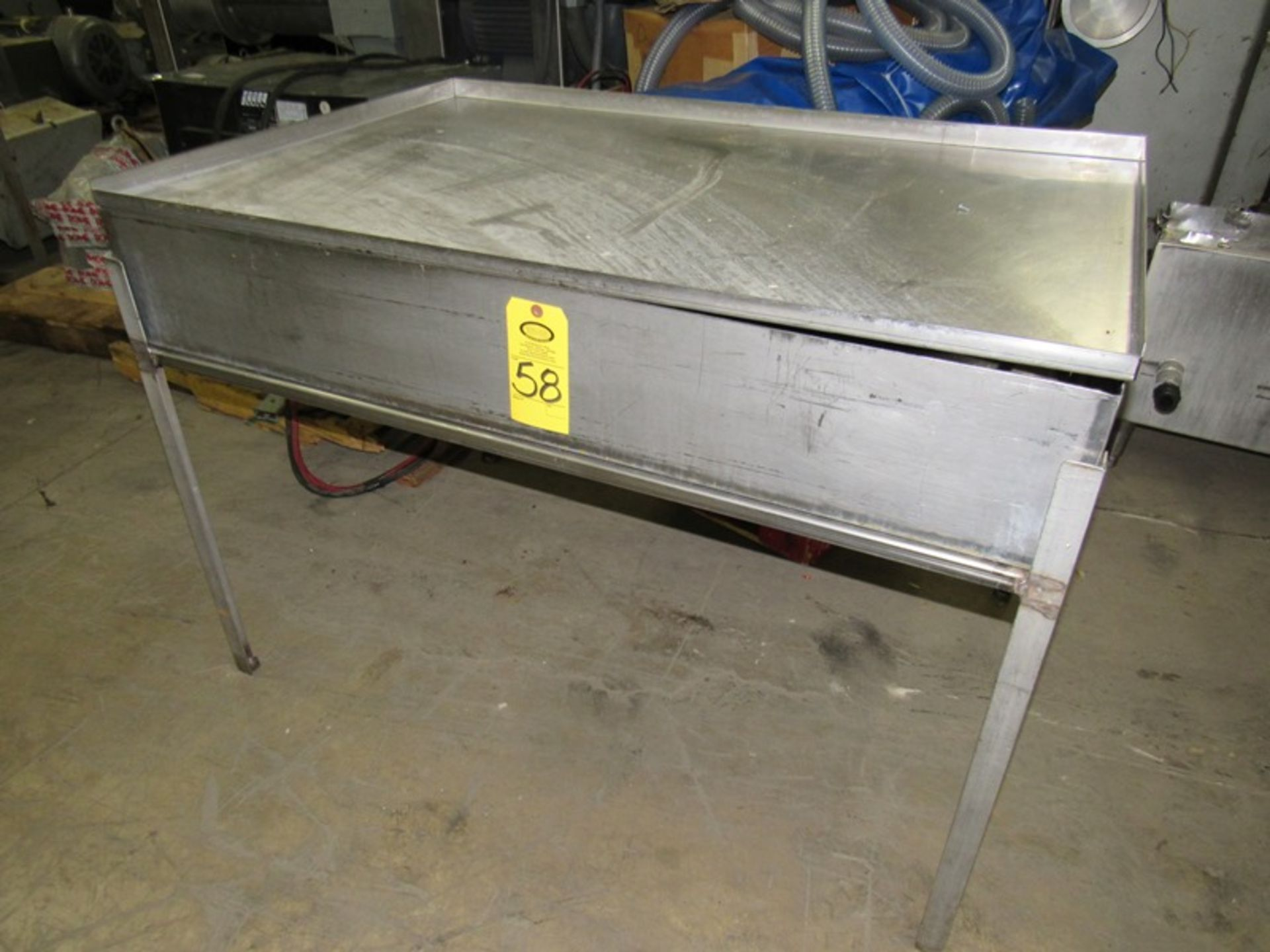 """Lot 58 - Lot Stainless Steel Trough, 35"""" W X 52"""" L X 8"""" D with lid, (1) Stainless Steel Table, 33"""" W X 58"""""""