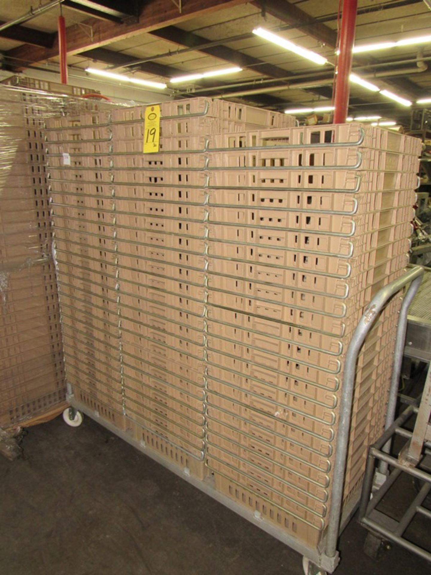 "Lot 19 - Koch Beige Meat Lugs, 18 1/2"" W X 22"" L X 6"" D, w/aluminum cart;*** All Funds Must Be Received By"