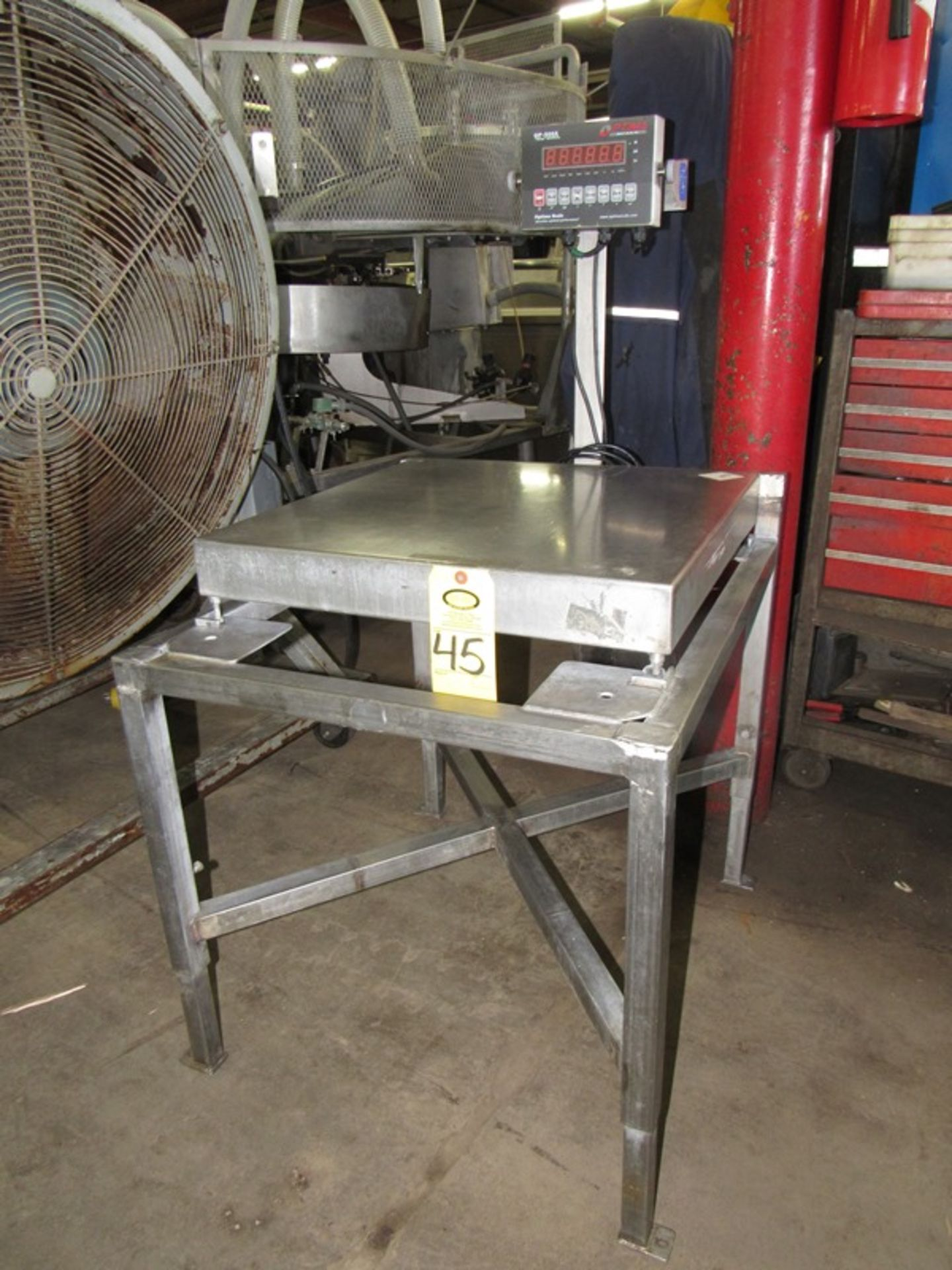 "Lot 45 - Optima Mdl. OP-900A Digital Scale, 24"" X 24"" stainless steel platform on stand;;*** All Funds Must"