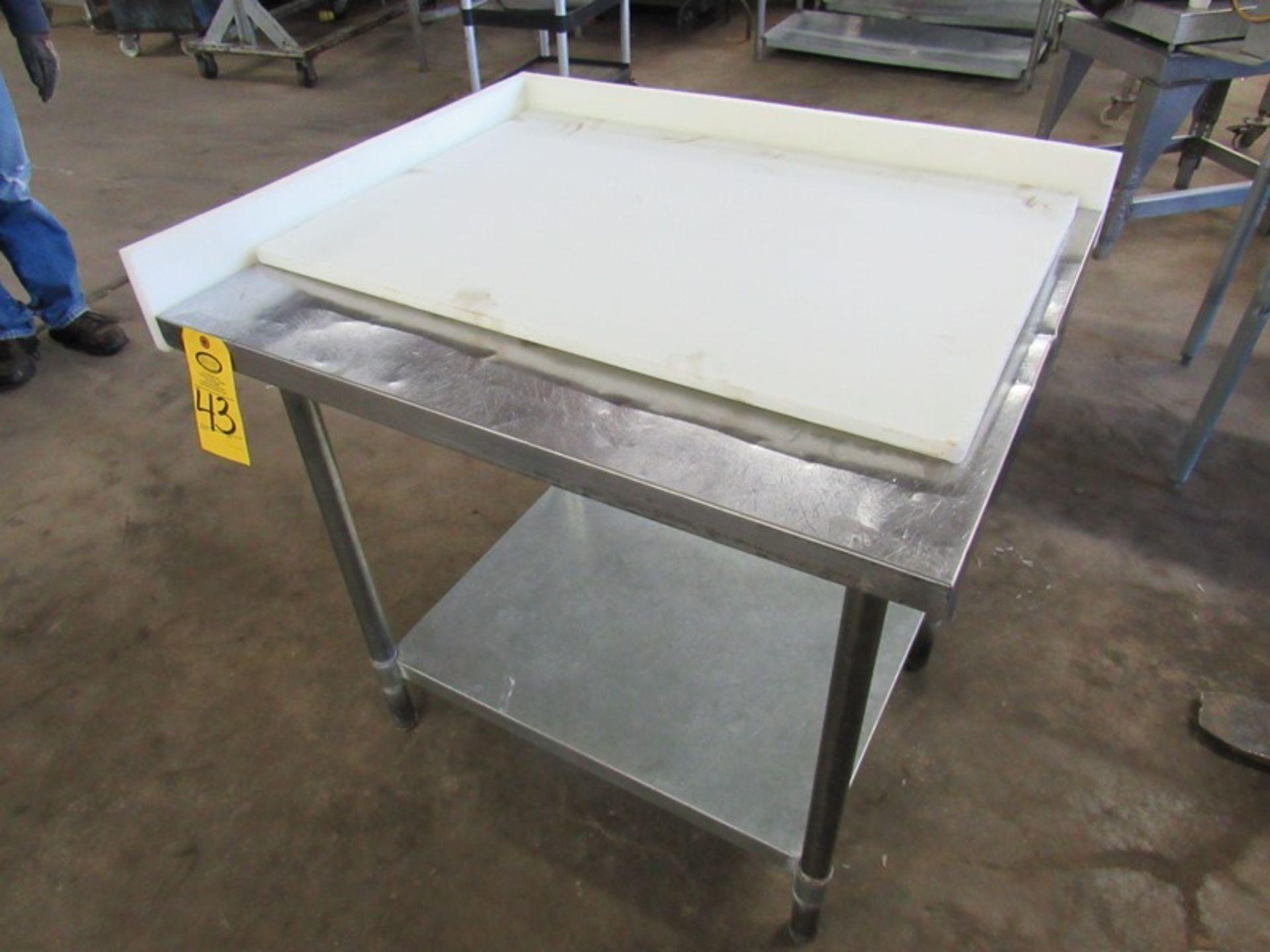 "Lot 43 - Lot (2) Stainless Steel Tables, (1) 30"" W X 36"" L X 36"" T with bottom shelf (1) 30"" W X 36"" L X"