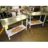 """Lot of Stainless Steel Tables (2) 24"""" W X 48"""" L X 33"""" T, mild steel legs & shelf"""