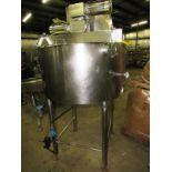"Chester Jensen Mdl. X70N5 Stainless Steel 150 Gallon Kettle, 44"" Dia. X 3' D , cone bottom, 3"""